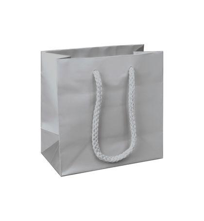 """Premium Silver Matte Euro-Shoppers, 6 1/2 x 3 1/2 x 6 1/2"""""""