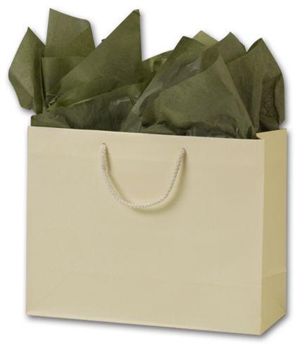 "Premium Ivory Matte Euro-Shoppers, 13 x 5 x 10"""