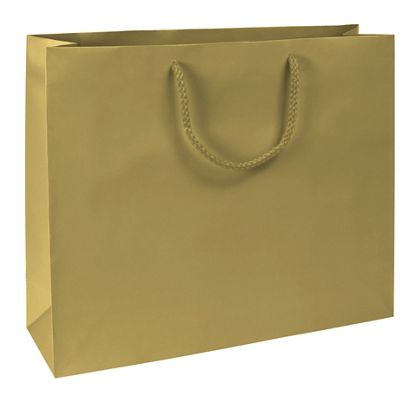"Premium Gold Matte Euro-Shoppers, 16 x 4 3/4 x 13"""