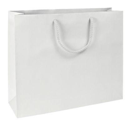 "Premium White Matte Euro-Shoppers, 16 x 4 3/4 x 13"""