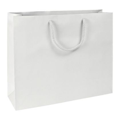 Premium White Matte Euro-Shoppers, 16 x 4 3/4 x 13