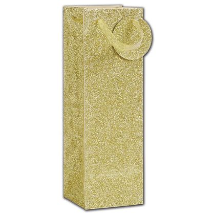 Gold Sparkle Bottle Euro-Totes, 4 1/2 x 4 1/2 x 14""