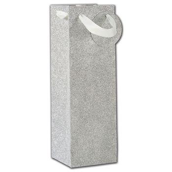 Silver Sparkle Bottle Euro-Totes, 4 1/2 x 4 1/2 x 14