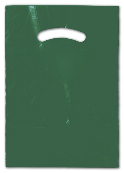 Dark Green Die-Cut Handle Bag, 9 x 12""
