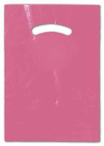 Hot Pink Die-Cut Handle Bag, 9 x 12