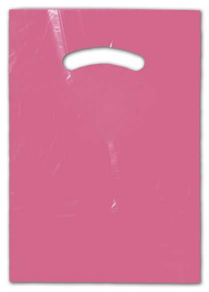 Hot Pink Die-Cut Handle Bag, 9 x 12""