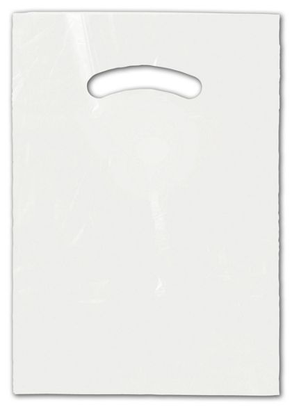 White Die-Cut Handle Bag, 9 x 12""