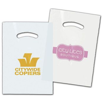 White/Clear Die-Cut Plastic Bags, Custom Printed, 9 x 12""