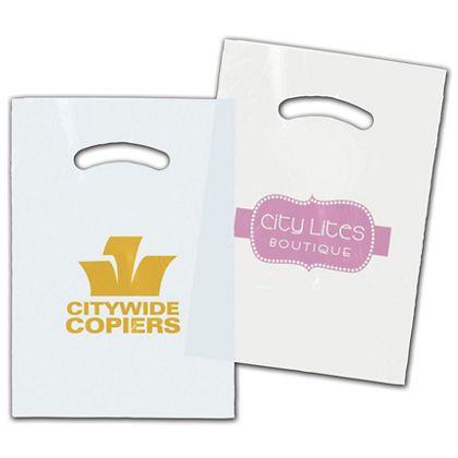 "White/Clear Die-Cut Plastic Bags, Custom Printed, 9 x 12"""