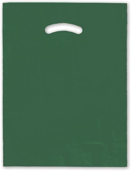 """Dark Green Die-Cut Handle Bag, 12 x 15"""""""