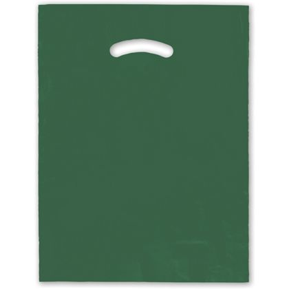 Dark Green Die-Cut Handle Bag, 12 x 15""