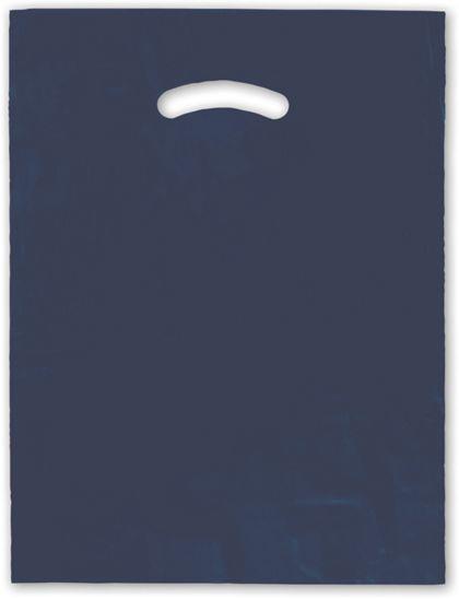 """Navy Blue Die-Cut Handle Bag, 12 x 15"""""""