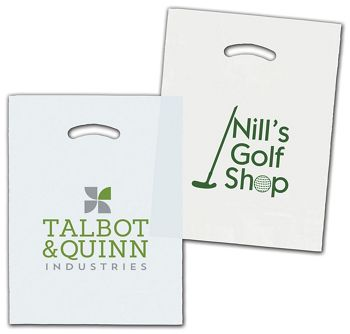 White/Clear Die-Cut Plastic Bags, Custom Printed, 12 x 15