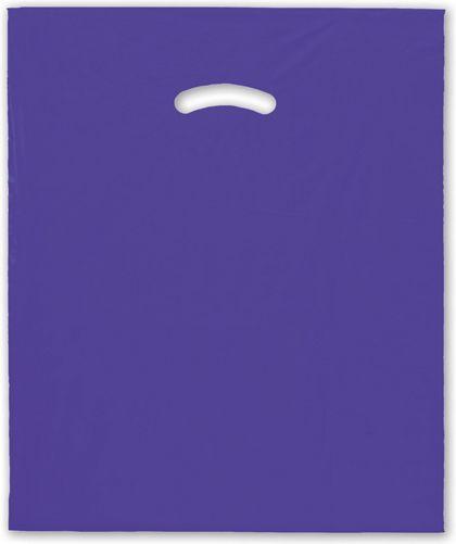 """Purple Die-Cut Handle Bag, 15 x 18"""" + 4"""" BG"""