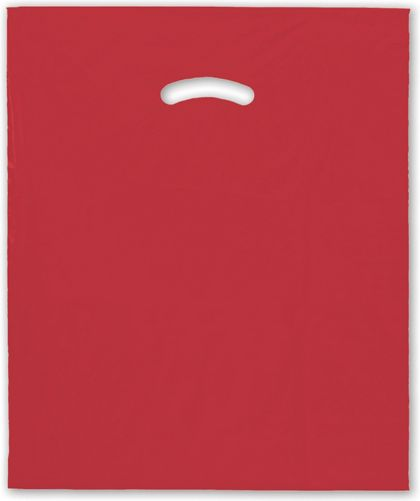 "Red Die-Cut Handle Bag, 15 x 18"" + 4"" BG"