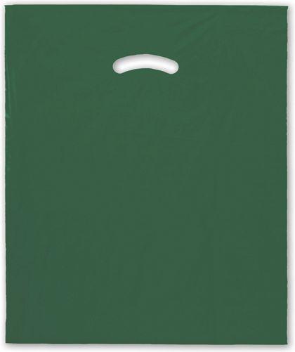"Dark Green Die-Cut Handle Bag, 15 x 18"" + 4"" BG"