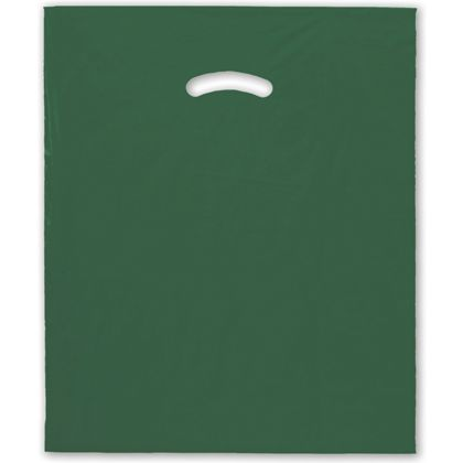 Dark Green Die-Cut Handle Bag, 15 x 18