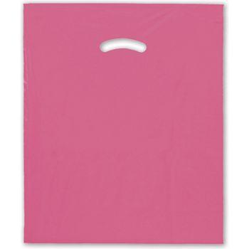 """Hot Pink Die-Cut Handle Bag, 15 x 18"""" + 4"""" BG"""