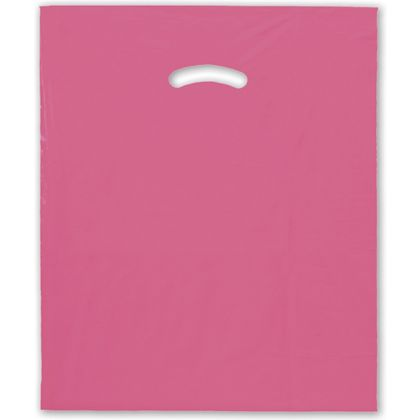 "Hot Pink Die-Cut Handle Bag, 15 x 18"" + 4"" BG"