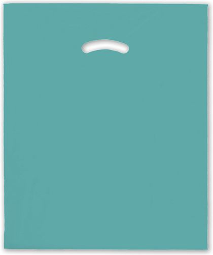 """Teal Die-Cut Handle Bag, 15 x 18"""" + 4"""" BG"""