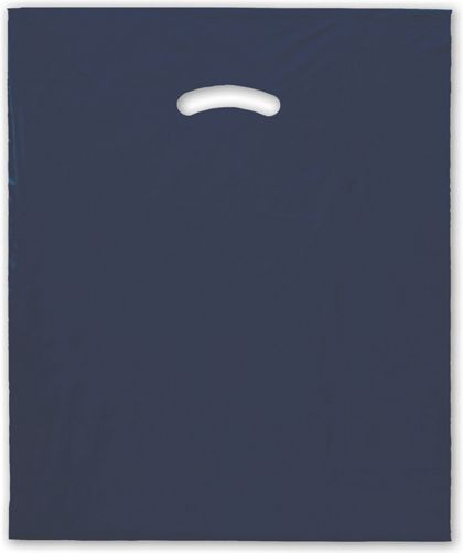 "Navy Blue Die-Cut Handle Bag, 15 x 18"" + 4"" BG"