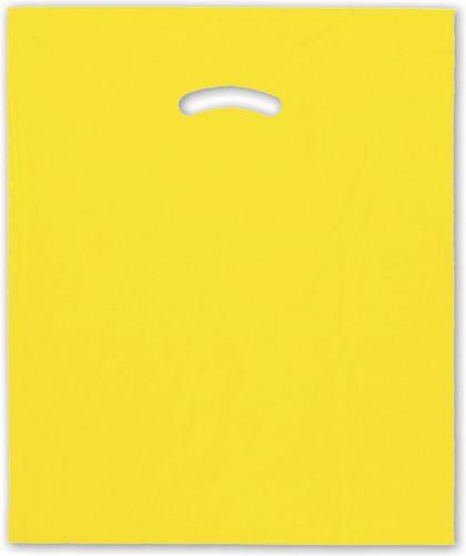 "Yellow Die-Cut Handle Bag, 15 x 18"" + 4"" BG"