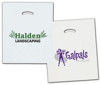 White/Clear Die-Cut Plastic Bags, Custom Printed, 15x18+4