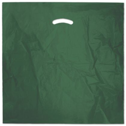 "Dark Green Die-Cut Handle Bag, 20 x 20"" + 5"" BG"