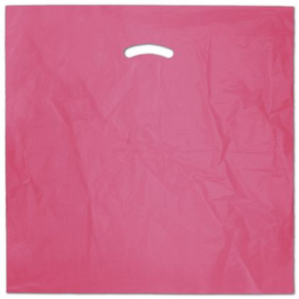 "Hot Pink Die-Cut Handle Bag, 20 x 20"" + 5"" BG"