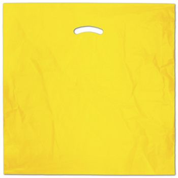 "Yellow Die-Cut Handle Bag, 20 x 20"" + 5"" BG"