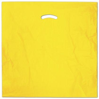 "Yellow Die-Cut Handle Bag, 20 x 20"" + 5"" BG"