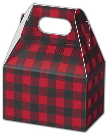 Buffalo Plaid Gable Boxes, 4 x 2 1/2 x 2 1/2