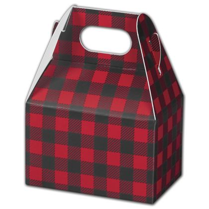 Buffalo Plaid Gable Boxes, 4 x 2 1/2 x 2 1/2""