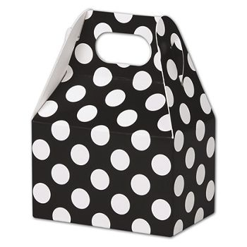 Black & White Dots Gable Boxes, 4 x 2 1/2 x 2 1/2