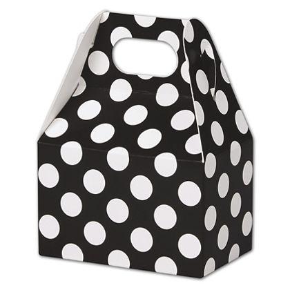 """Black & White Dots Gable Boxes, 4 x 2 1/2 x 2 1/2"""""""