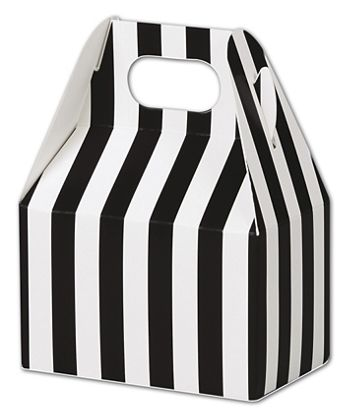 Black & White Stripes Gable Boxes, 4 x 2 1/2 x 2 1/2