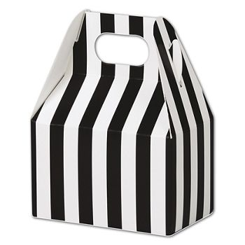 Black & White Stripes Gable Boxes, 4 x 2 1/2 x 2 1/2""