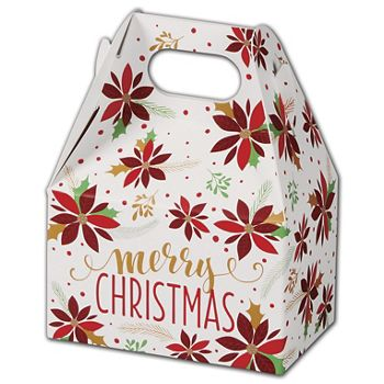 Christmas Poinsettia Gable Boxes, 4 x 2 1/2 x 2 1/2
