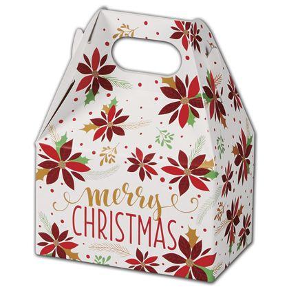 """Christmas Poinsettia Gable Boxes, 4 x 2 1/2 x 2 1/2"""""""
