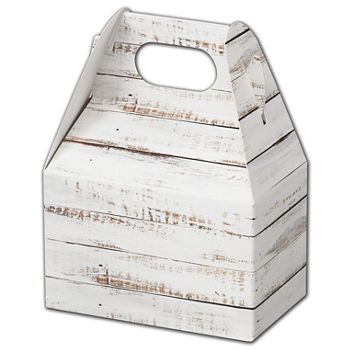 Distressed White Wood Gable Boxes, 4 x 2 1/2 x 2 1/2""
