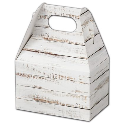 "Distressed White Wood Gable Boxes, 4 x 2 1/2 x 2 1/2"""