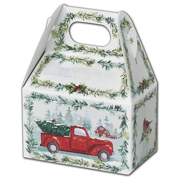 Farmhouse Christmas Gable Boxes, 4 x 2 1/2 x 2 1/2""