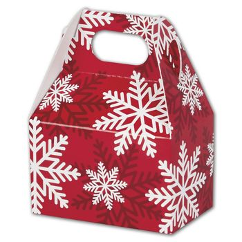 Red & White Snowflakes Gable Boxes, 4 x 2 1/2 x 2 1/2