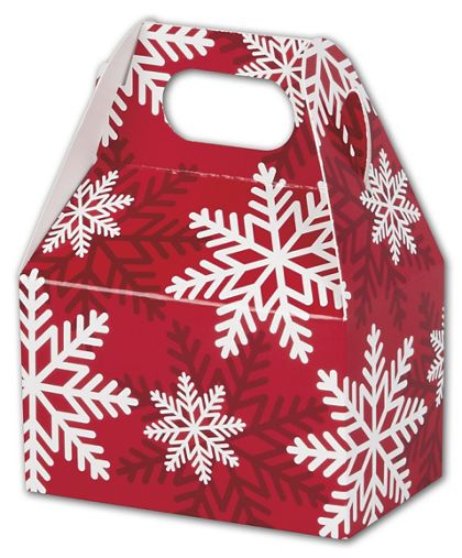 Red & White Snowflakes Gable Boxes, 4 x 2 1/2 x 2 1/2""