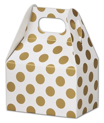 Metallic Gold Dots Gable Boxes, 4 x 2 1/2 x 2 1/2