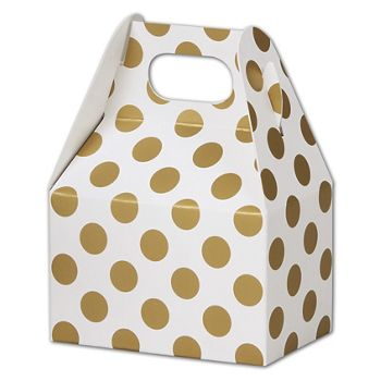 Metallic Gold Dots Gable Boxes, 4 x 2 1/2 x 2 1/2""