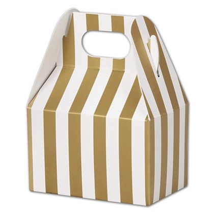 """Metallic Gold Stripes Gable Boxes, 4 x 2 1/2 x 2 1/2"""""""