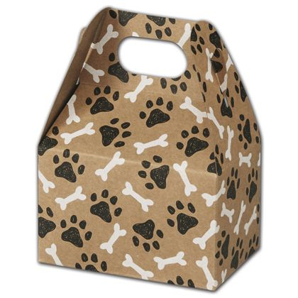 Kraft Paw Prints Gable Boxes, 4 x 2 12 x 2 1/2""