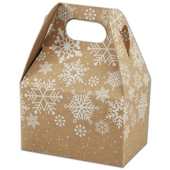 Kraft Snowflakes Gable Boxes, 4 x 2 1/2 x 2 1/2