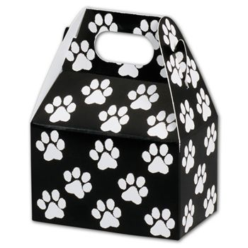 Black Paw Print Gable Boxes, 4 x 2 1/2 x 2 1/2